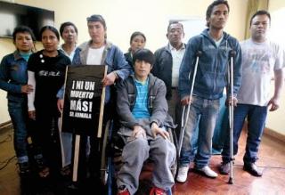 Elmer Campos en Lima cuando denunció la violenta intervención de la Policía.